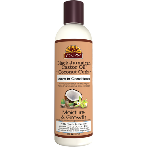 OKAY Black Jamaican Castor Oil Coconut Curls Leave In Conditioner- Helps Condition, Strengthen, And Regrow Hair  - Sulfate, Silicone, Paraben Free For All Hair Types and Textures - Made in USA 8 oz / 237ml