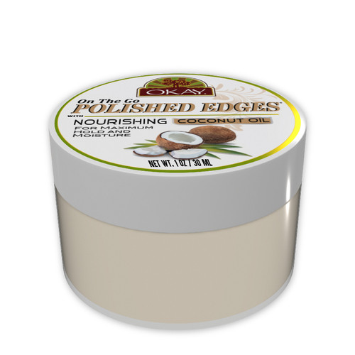 OKAY Polished Edges With Coconut Oil  - No Flaking  All Day Hold Edge Control - For Hairline, Sideburns - Silicone, Paraben Free For All Hair Types and Textures -  Made in USA 1oz