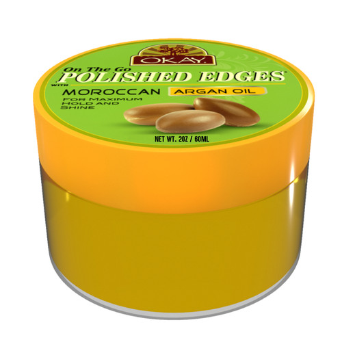 OKAY Polished Edges With Argan Oil - No Flaking  All Day Hold Edge Control - For Hairline, Sideburns - Silicone, Paraben Free For All Hair Types and Textures -  Made in USA  2oz