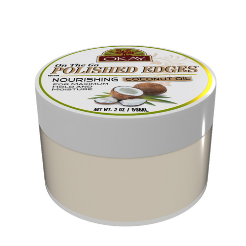 POLISHED EDGES with COCONUT OIL  - No Flaking  All Day Hold Edge Control - For Hairline, Sideburns - Silicone, Paraben Free For All Hair Types and Textures -  Made in USA 2oz