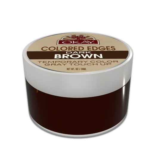OKAY Dark Brown Colored Edges  - No Flaking  All Day Hold - Conceals Gray New Growth Plus Edge Control - For Hairline, Sideburns - Silicone, Paraben Free For All Hair Types and Textures  1oz