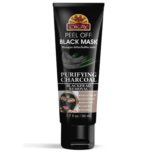 OKAY Charcoal Peel Off Black Mask for Black / White Head Removal -Peels OFF with One Pull-Gives Youthful Glow-For Healthy Skin -Leaves Skin Soft and Rejuvenated-Sulfate, Silicone, Paraben Free For All Skin Types. Made in USA 1.7 oz / 50 ml
