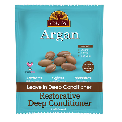 OKAY Restorative Argan Leave In Conditioner Packet - Helps Restore, Hydrate, And Smooth Hair- Sulfate, Silicone, Paraben Free For All Hair Types and Textures - Made in USA  1.5oz