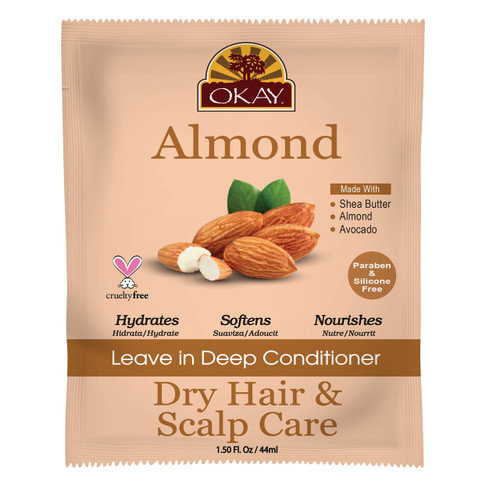 OKAY Dry Hair & Scalp Almond Leave In Conditioner Packet - Helps Hydrate, Moisturize, And Soften Hair - Sulfate, Silicone, Paraben Free For All Hair Types and Textures  - Made in USA 1.5oz