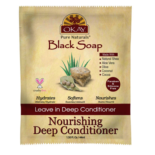 OKAY Black Soap Nourishing Leave In Conditioner Packet - Helps Cleanse, Nourish, And Hydrate Hair - Sulfate, Silicone, Paraben Free For All Hair Types and Textures  1.5oz