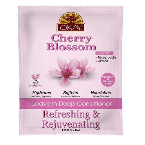 OKAY Cherry Blossom Refreshing & Rejuvenating Leave In Conditioner Packet - Helps Nourish, Revitalize, And Refresh Hair -Sulfate, Silicone, Paraben Free For All Hair Types and Textures  - Made in USA 1.5oz