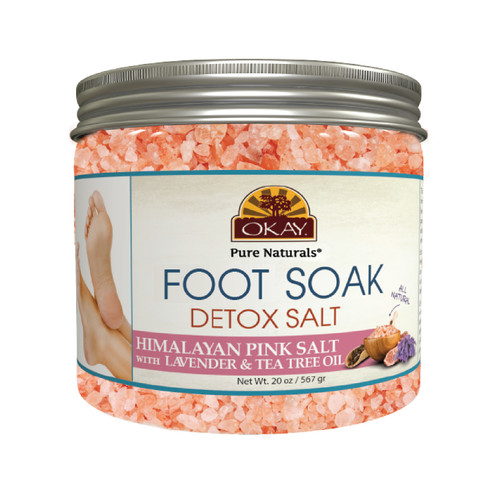 OKAY Foot Spa Foot Soak Himalayan Pink Salt w/ Lavender & Tea Tree Oil- Soothing Mineral Soak - Leaves Feet Feeling Cleansed, Refreshed And Relaxed - No Parabens, No Silicones, No Sulfates - For All Skin Types - Made In USA  20oz