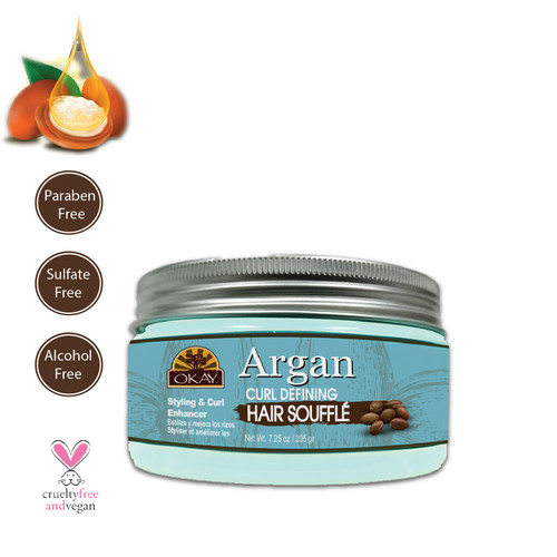 OKAY Argan Curl Enhancing Hair Soufflé - For Styling  & Curl Enhancing - For Smooth, Glossy, Frizz Free, Strong & Well Defined Curls - Alcohol, Sulfate, Paraben Free- Made in USA  7.25 oz