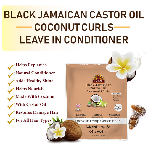 OKAY Black Jamaican Castor Oil Coconut Curls Leave In Deep Conditioner - Helps Condition, Strengthen, And Regrow Hair. Sulfate, Silicone, Paraben Free For All Hair Types and Textures. Made in USA 1.5oz