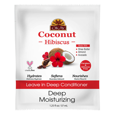 OKAY Coconut Hibiscus Leave In Conditioner Packet - Helps Restore, Hydrate, And Strengthen Hair. Sulfate, Silicone, Paraben Free For All Hair Types and Textures. Made in USA  1.5 oz