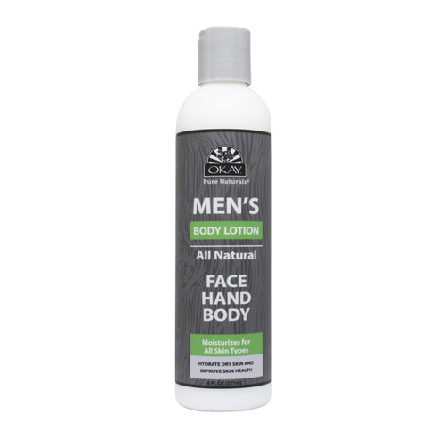 OKAY Men's All Natural Face Hand Body Lotion - Formulated For Men, Helps Hydrate, Heal, and Nourish Skin -Sulfate, Silicone, Paraben Free For All Skin Types. Made in USA -  8oz