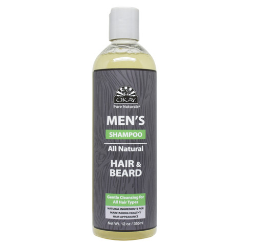 OKAY Men's All Natural Hair & Beard Shampoo - Formulated For Men, Helps Cleanse, Add Shine, Strengthen Hair & Beard - Sulfate, Silicone, Paraben Free For All Hair Types & Textures. Made in USA - 12.oz