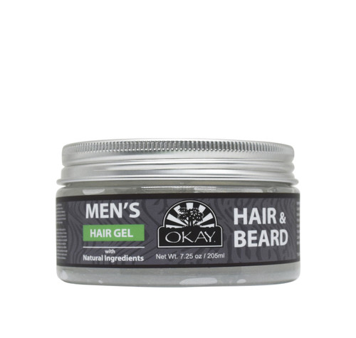 OKAY Men's Hair & Beard Gel with Natural Ingredients - Formulated For Men, Helps Style, Hydrate, Nourish, And Define Hair And Beard With Maximum Hold - Silicone, Paraben Free. Great on all Hair Types and Textures  7.25oz / 205ml