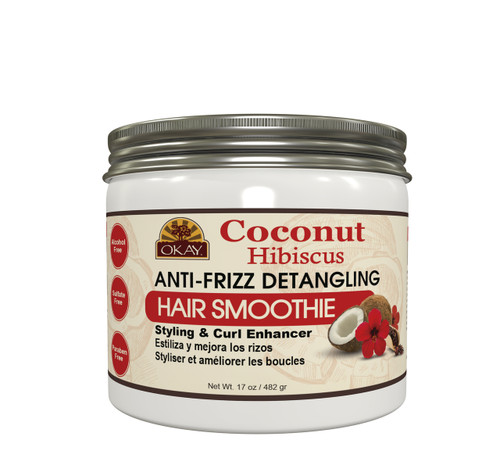 OKAY Coconut Hibiscus Anti-Frizz Detangling Hair Smoothie Deep Moisturizing  - For Styling  & Curl Enhancing-  For Smooth, Glossy, Frizz Free, Strong & Well Defined Curls - Alcohol, Sulfate, Paraben Free  17 oz