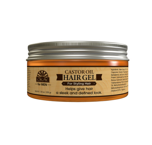 OKAY Men's Castor Oil Hair Gel. For Styling Hair - Formulated For Men, Helps Style, Hydrate, Nourish, And Define Hair And Beard With Maximum Hold - Silicone, Paraben Free. Great on all Hair Types and Textures - Made in USA  7.25oz / 205ml