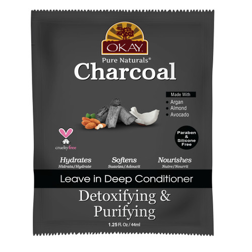 Charcoal Leave In Conditioner Packet-  Helps, Detoxify, Purify, and Cleanse Hair - Sulfate, Silicone, Paraben Free For All Hair Types and Textures - Made in USA  1.25 oz