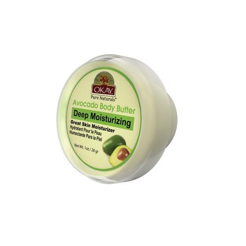 OKAY 100% Natural Avocado Body Butter- Deep Moisturizing - Great Skin Moisturizer- Restores Moisture To Dry Damaged Skin - Reduces Skin Damage-Heals & Nourishes -Made In USA 1oz