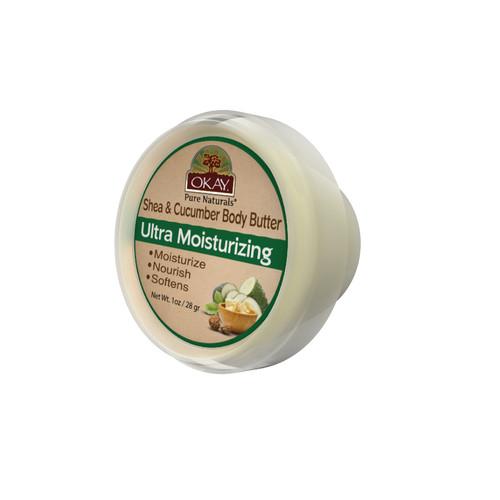 OKAY 100% Natural Shea & Cucumber Body Butter- Deep Moisturizing - Great Skin Moisturizer- Restores Moisture To Dry Damaged Skin - Reduces Skin Damage-Heals & Nourishes -Made In USA 1oz
