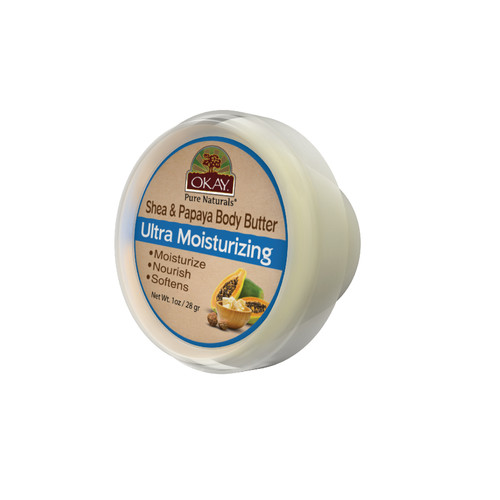OKAY 100% Natural Shea & Papaya Body Butter- Deep Moisturizing - Great Skin Moisturizer- Restores Moisture To Dry Damaged Skin - Reduces Skin Damage-Heals & Nourishes -Made In USA 1oz