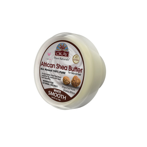 OKAY 100% Natural African Shea Butter White Smooth- Deep Moisturizing - Great Skin Moisturizer- Restores Moisture To Dry Damaged Skin - Reduces Skin Damage-Heals & Nourishes -Made In USA 1oz