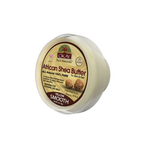 OKAY 100% Natural African Shea Butter Yellow Smooth- Deep Moisturizing - Great Skin Moisturizer- Restores Moisture To Dry Damaged Skin - Reduces Skin Damage-Heals & Nourishes -Made In USA 1oz