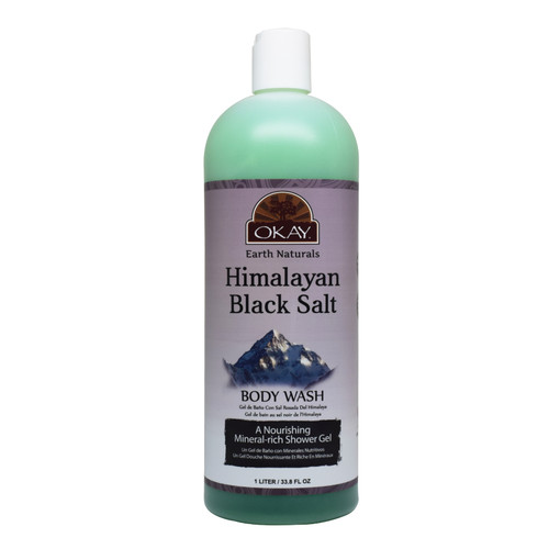OKAY Himalayan Black Salt Body Wash- Refreshing And Nourishing- Leave Skin Feeling Cleansed And Pampered - Contains Minerals Known For Nourishing Skin- No Parabens, No Silicones, No Sulfates - For All Skin Types- 33.8oz / 1Liter
