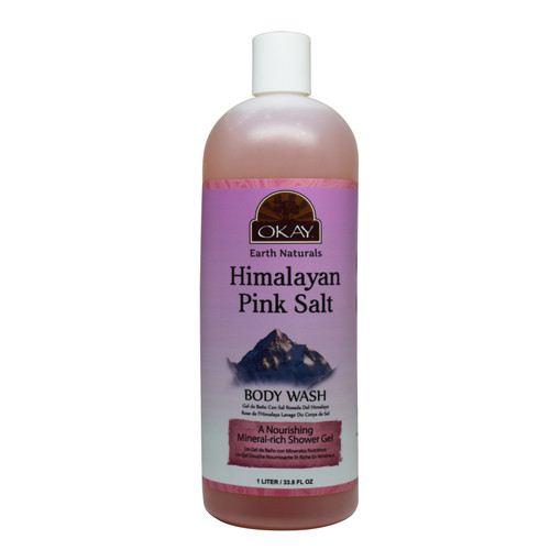 OKAY Himalayan Pink Salt Body Wash - Refreshing And Nourishing- Leave Skin Feeling Cleansed And Pampered - Contains Minerals Known For Nourishing Skin- No Parabens, No Silicones, No Sulfates - For All Skin Types -33.8oz / 1Liter