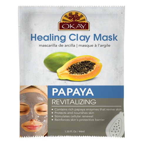 Healing Clay Mask- Papaya - Revitalizing- Revives Skin- Protects & Nourishes Skin- Stimulates Cellular Renewal- Reinforces Skin's Protective Barrier- Made In USA  1.50 fl.oz /44ml