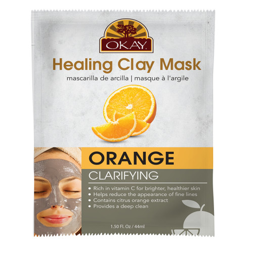 Healing Clay Mask- Orange - Clarifying-Rich In Vitamin C For Healthier Skin- Helps Reduce The Appearance Of Fine Lines- Contains Citrus Orange Extract- Provides Deep Clean- Made In USA  1.50 fl.oz /44ml