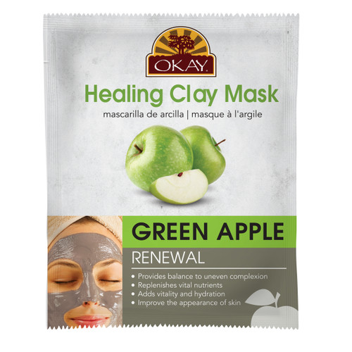 Healing Clay Mask- Green Apple -Renewal- Provides Balance To Uneven Complexion- Replenishes Vital Nutrients-Adds Vitality & Hydration- Improves The Appearance Of Skin- Made In USA  1.50 fl.oz /44ml