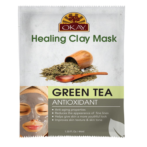 Healing Clay Mask- Green Tea -Antioxidant- Anti-Aging Properties- Reduces The Appearance Of Fine Lines -Gives Skin More Youthful Look- Improves Skin Texture & Skin Tone - Made In USA  1.50 fl.oz /44ml