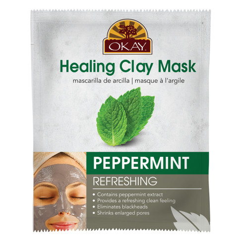 OKAY Healing Clay Mask- Peppermint-Refreshing- Contains Peppermint Extract- Provides A Refreshing Clean Feeling- Eliminates Blackheads- Shrinks Enlarged Pores-  1.50 fl.oz /44ml