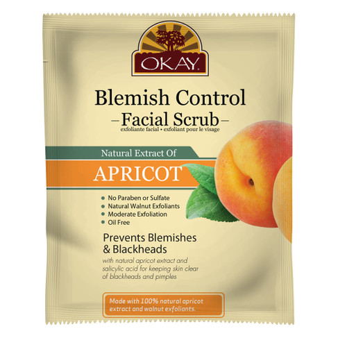 Apricot Facial Scrub for Blemish Control - Removes Dirt, And Oil- leaves Skin Freshly Cleansed, Moisturized & Energized- Helps Clear Blemishes, Minimize Pores, Leaves Skin Smooth - Alcohol, Sulfate, Paraben Free - Made in USA 1.50 fl.oz /44ml