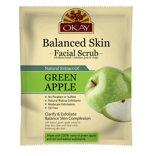 OKAY Green Apple Facial Scrub for Balanced Skin- Removes Dirt, And Oil- leaves Skin Freshly Cleansed, Moisturized & Energized- Helps Clear Blemishes, Minimize Pores, Leaves Skin Smooth - Alcohol, Sulfate, Paraben Free  1.50 fl.oz /44ml