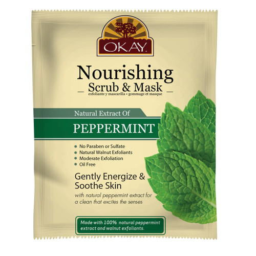 OKAY Peppermint Facial Scrub Mask for Nourishing Skin- Removes Dirt, & Oil- leaves Skin Freshly Cleansed, Moisturized & Energized- Helps Clear Blemishes, Minimize Pores, Leaves Skin Smooth - Alcohol, Sulfate, Paraben Free 1.50 fl.oz /44ml