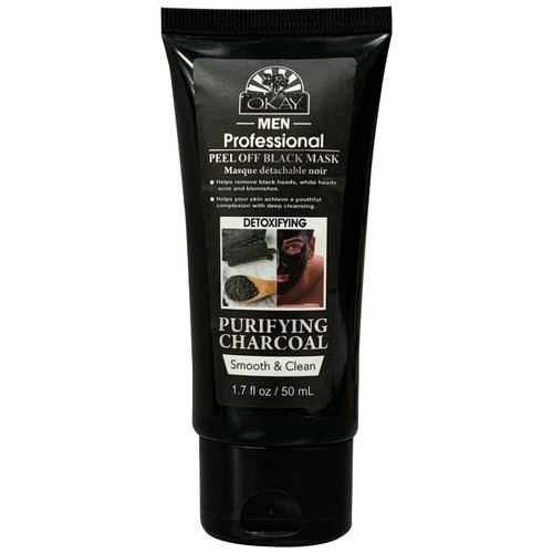 Men's Peel Off Black Mask Purifying Charcoal  For Black / White Head Removal -Peels OFF with One Pull-For Healthy Skin -Leaves Skin Soft and Rejuvenated-Sulfate, Silicone, Paraben Free For All Skin Types. Made in USA 1.7 oz / 50 ml