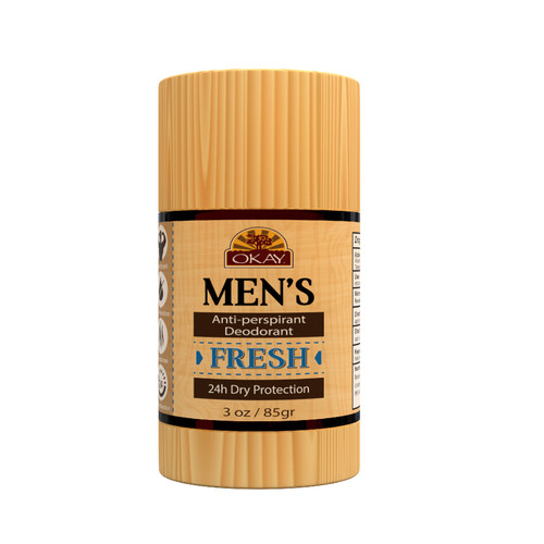 Men's Aluminum Free Deodorant All Natural Fresh Solid Clear Stick, Daily Odor Protection -Sulfate, Silicone, Paraben Free For All Skin Types. Made in USA -3oz / 85gr