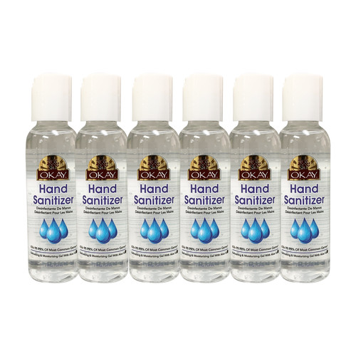 6pk - 2oz OKAY Hand Sanitizer Antimicrobial & Antibacterial, 70% Ethyl Alcohol- Effective At Eliminating 99.9% Of Many Common Germs & Bacteria-Made In USA - 2 oz/59 ml