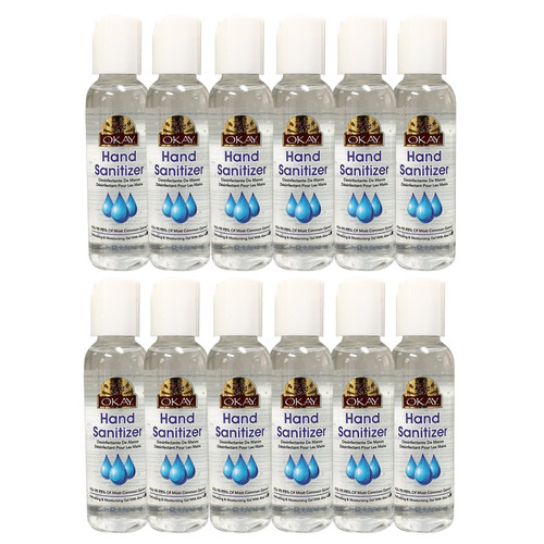 12pk - 2oz OKAY Hand Sanitizer Antimicrobial & Antibacterial, 70% Ethyl Alcohol- Effective At Eliminating 99.9% Of Many Common Germs & Bacteria-Made In USA - 2 oz/59 ml