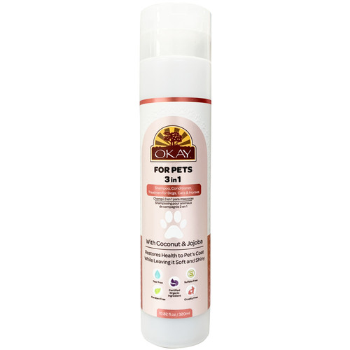 OKAY For Pets 3 in 1 Shampoo, Conditioner, Treatment For Dogs, Cats & Horses. WIth Coconut & Jojoba. Restores Health To Pet's Coat, Leaving It Soft & Shiny. Certified Organic Ingredient. Sulfate, Paraben, Tear & Cruelty Free.10.82oz/ 320ml
