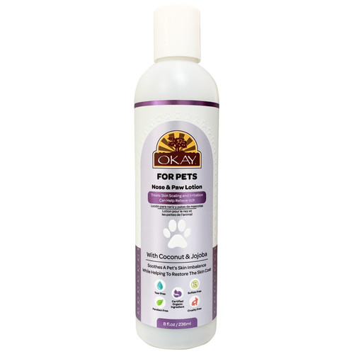 OKAY For Pets Nose & Paw Lotion. Treats Skin Scaling And Irritation. Can Help Relieve Itch. With Coconut & Jojoba. Soothes A Pet's Skin Helping To Restore Moisture. Certified Organic Ingredient. Sulfate, Paraben, Tear & Cruelty Free.10.82oz/ 320ml