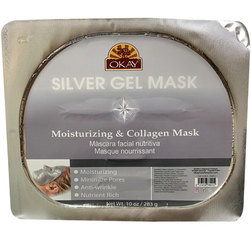 OKAY Silver Gel Mask. Moisturizing & Collagen Mask. Soothe & Hydrate Skin. Helps Restore Skin Elasticity. Smooth Skin Texture. Helps Minimize Fine Lines & Wrinkles. Nutrient Rich, Anti Wrinkle, Helps To Minimize Pores, Moisturizing. 10oz/ 283g