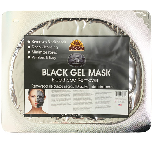 OKAY Black Gel Mask. Removes Blackheads, Deep Cleansing, Minimizes Pores, Painless & Easy, Soothe & Hydrate Skin. Helps Restore Skin Elasticity. Smooth Skin Texture. Helps To Minimize Pores, Moisturizing 2.47oz/ 70gr