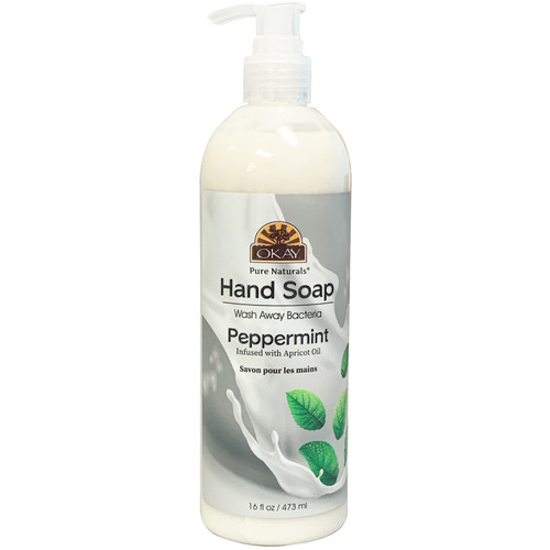 Okay Hand Soap Liquid With Peppermint- Infused With Apricot Oil- Washes Away Bacteria- Made In USA- 16 oz/473 ml