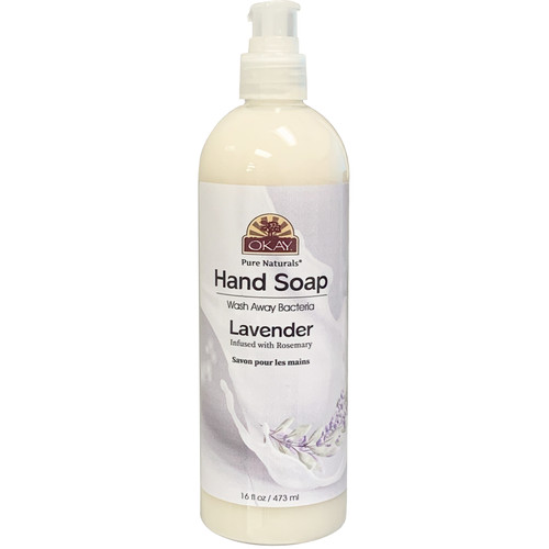 Okay Hand Soap Liquid With Lavender- Infused With Rosemary- Washes Away Bacteria- Made In USA- 16 oz/473 ml