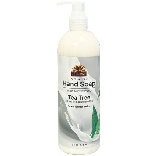 Okay Hand Soap Liquid With Tea Tree- Infused With Hemp Seed Oil- Washes Away Bacteria- Made In USA- 16 oz/473 ml