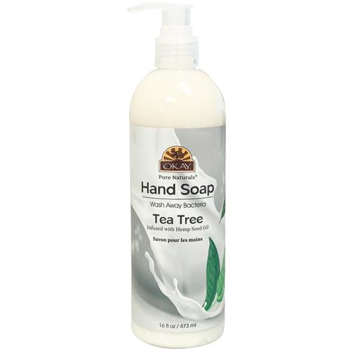 OKAY Hand Soap Liquid With Tea Tree- Infused With Hemp Seed Oil- Washes Away Bacteria-- 16 oz/473 ml