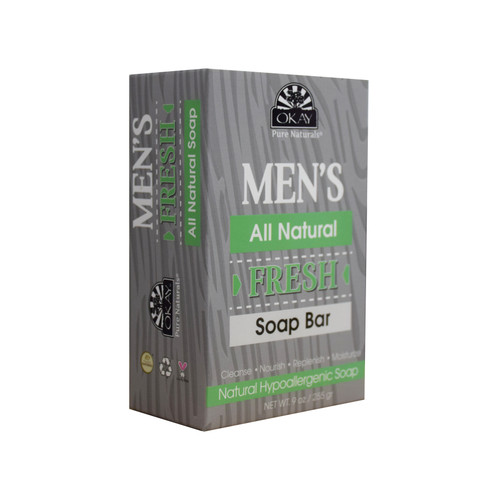 OKAY Men's All Natural Fresh Soap Bar- Natural Hypoallergenic Soap- Cleanse, Nourish, Replenish, Moisturize-For All Skin Types- Made In USA- 9oz/255 gr