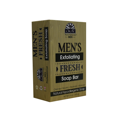OKAY Men's Exfoliating Fresh Soap Bar- Natural Hypoallergenic Soap- Cleanse, Nourish, Replenish, Moisturize-For All Skin Types- Made In USA- 9oz/255 gr
