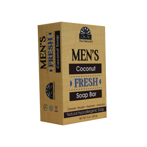 OKAY Men's Coconut Fresh Soap Bar- Natural Hypoallergenic Soap- Cleanse, Nourish, Replenish, Moisturize-For All Skin Types- Made In USA- 9oz/255 gr